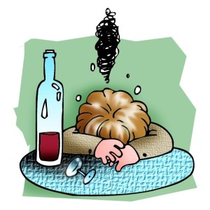 Illustration of drunk person with a wine bottle