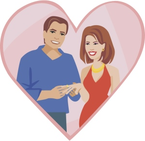 Image of husband and wife in heart shaped frame
